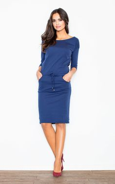 c42c4f480fb6 Navy Blue Knee Long Dress 3/4 Sleeve - SilkFred Bleu Marine, Navy Blue