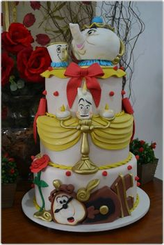 Beauty and the beast themed cake, so adorable | cakes | decorations | creative | Disney | follow @sophieeleana