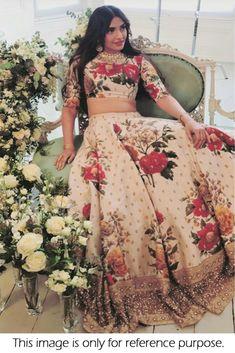 Cream Colour Banglori Silk Fabric Party Wear Lehenga Choli Comes with matching blouse. This Lehenga Choli Is crafted with Thread Work,Sequins Work,Digital Print This Lehenga Choli Comes with Unstitche. Simple Lehenga Choli, Gold Lehenga, Floral Lehenga, Anarkali Lehenga, Bollywood Lehenga, Bollywood Outfits, Lehenga Choli Online, Bridal Lehenga Choli, Sabyasachi