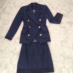 DONNAKARAN Newyork  Blazer set Skirt set. 55% cotton 45% silk navy blue silk trim. Pin picks on the trim of sleeve next to zipper. Skirt size 2. Blazer size 4.blazer collar show some sigh of wear when look closely DKNY Skirts Skirt Sets