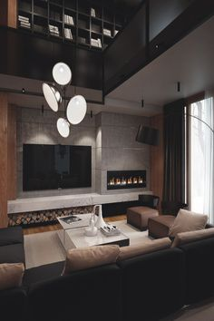44 luxury living room design ideas with modern accent 5 ~ Beautiful House Lovers Living Room Modern, Living Room Designs, Living Room Decor, Cozy Living, Living Rooms, Style Salon, Fireplace Design, Luxury Living, House Design