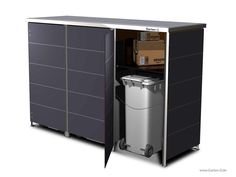 Dustbin with integrated package repository for the delivery service. Ikea Living Room, Farmhouse Remodel, Workplace Design, Garbage Can, Storage Compartments, Loft, Room Inspiration, Filing Cabinet, Wood Crafts