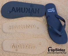 Custom Sand Imprint Flip Flops. Personalize With Your Design. No Minimum Order Quantity
