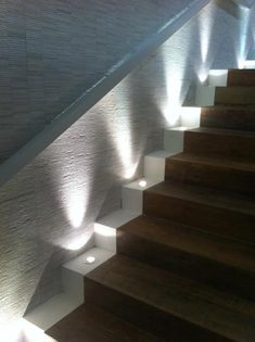 Today's emphasis? The stairs! Here are 26 inspiring ideas for decorating your stairs tag: Painted Staircase Ideas, Light for Stairways, interior stairway lighting ideas, staircase wall lighting. Outdoor Stair Lighting, Staircase Lighting Ideas, Stairway Lighting, Outdoor Stairs, Staircase Design, Strip Lighting, Basement Lighting, Lights On Stairs, Staircase Landing