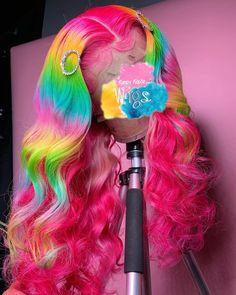 Lace Frontal Wigs Pink Hair Baby Pink Curly Hair For Girl – wigbaba Cute Hair Colors, Pretty Hair Color, Hair Colour, Danse Twerk, Rainbow Wig, Colored Wigs, Baddie Hairstyles, Teen Hairstyles, Casual Hairstyles
