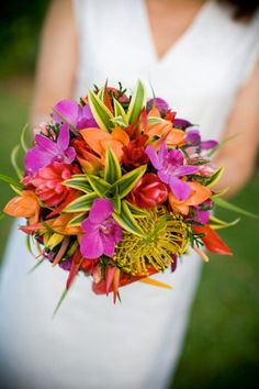 Tropical bouquet one of the bridal favorites when having a St Thomas wedding. http://www.beachweddingsbydeb.com/