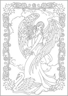 Creative Haven ELEGANT ANGELS Coloring Book By: Marty Noble Welcome to Dover Publications COLORING PAGE 1/6