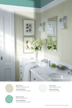 Primp and prep. #Benjamin Moore Tapestry Beige OC-32 with Aura Bath & Spa, matte finish (wall); Hazy Blue 2040-50 with Aura Bath & Space, matte finish (border); and, Snow White OC-66 with Aura, semi-gloss finish (trim).