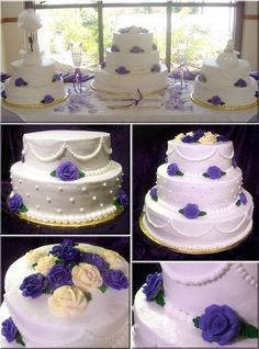 This is my first ever wedding cake. Each of the three cakes have a different flavoring (the larger cake is vanilla almond with cherry pie filling, one of the smaller two is chocolate chocolate chip with dark chocolate mousse filling, and the other of the smaller cakes is a red velvet cake with raspberry preserve filling). All three cakes are decorated with roses that match the colors of the wedding. The entirety of all three cakes are buttercream, including air-dry buttercream for the roses.