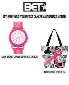 """BET.com featured two new Avon Pink Ribbon products as """"stylish finds"""" in its October pink product round-up. A percentage of proceeds from the sale of each Avon Pink Ribbon product benefits the  Avon Breast Cancer Crusade."""