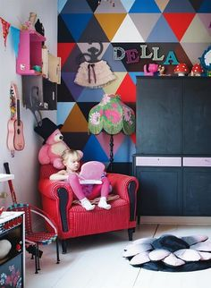 Love the eclectic style of the child's room. Might be a little too much for the folk art painted chairs I have to go in there, but I like it all the same.