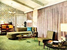 Living Room This Mid Century Modern living room is spectacular. - Living Room This Mid Century Modern living room is spectacular. I love that green sofa.