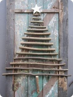 Good idea for wall decor - attach Xmas crass and ornaments, crank it up a notch with tinsel ? Stick Christmas Tree, Noel Christmas, Christmas Makes, Primitive Christmas, Country Christmas, Xmas Tree, Winter Christmas, Simple Christmas, Christmas Projects
