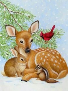 Merry Christmas Wishes : Illustration Description Fawn and Friends -- by Stephanie Stouffer:~~ Sending you love and hugs and wishes for a Merry Christmas Scenes, Christmas Deer, Christmas Animals, Vintage Christmas Cards, Christmas Pictures, Christmas Greetings, Merry Christmas, Illustration Noel, Christmas Illustration