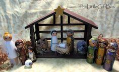 a beautiful painted wood peg doll nativity    set. good inspiration :D