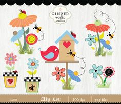 Garden clip art, spring garden, flower clipart, birdhouse, country garden clipart, garden plant by GingerWorld on Etsy