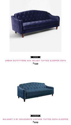 Urban Outfitters Ava Velvet Tufted Sleeper Sofa $749 vs Walmart 9 by Novogratz Vintage Tufted Sofa Sleeper $349