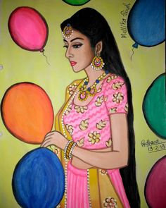 as Radha of show Starbharat Madhubani Paintings Peacock, Indian Art Paintings, Girl Drawing Sketches, Pencil Art Drawings, Krishna Painting, Krishna Art, Cherokee Indian Art, Indian Traditional Paintings, Abstract Painting Techniques