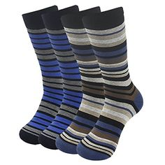SUTTOS Mens Value Elite Blue Black Brown Striped Rib Charged Cotton Mid Calf All Sports Crew Dress Socks4Pairs * Be sure to check out this awesome product.Note:It is affiliate link to Amazon.