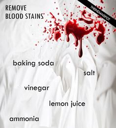 Blood stains are very common on bed sheets, PJ's etc. and removing them can be real pain. Blood stains are easy to remove when they are fresh and before they set because t6hen it becomes almost near to impossible to get rid of the stains. Are you looking for some easy and simple ways to get rid of blood stains? Yes, then we can surely help. Here are some super easy tips that actually work even on dried blood stains.    White Vinegar: Pouring white vinegar on the blood stain can remove it…