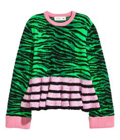 Green/pink. KENZO x H&M. Jacquard-knit sweater in a chunky wool blend with tiger stripes. Contrasting ribbing at neckline and cuffs. Seam at lower section