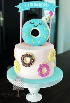 """doNUT"" grow up birthday cake - Birthday - Donuts 8th Birthday Cake, Donut Birthday Parties, Donut Birthday Cakes, Birthday Ideas, Donut Party Supplies, Doughnut Cake, Girl Cakes, Cake Smash, Party Cakes"