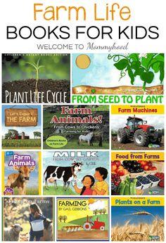 Farm Books for Kids. Use this list of farm themed books to enhance a Farm Unit Study and Farm Learning Activities for kids. Animal Activities For Kids, Farm Activities, Kids Learning Activities, Montessori Activities, Teaching Kindergarten, Teaching Ideas, Botany Books, Preschool Farm, Farm Unit