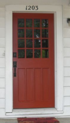 Sweet Home the door 054 -- sherwin williams fired brickthe door 054 -- sherwin williams fired brick House Paint Exterior, Exterior Paint Colors, Exterior House Colors, Exterior Doors, House Front Door, Up House, Front Door Decor, Front Porch, Front Door Paint Colors