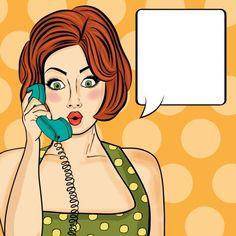 Surpris femme pop art bavarder au téléphone rétro Comic femme avec speech bubble Pin up girl Vecteur gratuit