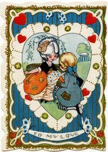 free vintage valentine, Victorian valentine printable, old fashioned valentine card, valentine graphics