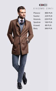 Stylizacja Giacomo Conti: płaszcz Floriano 14/36 WK, spodnie Augusto 05 S, sweter Dario 14/85 SR, koszula Vittore slim 14/08/12  #giacomoconti