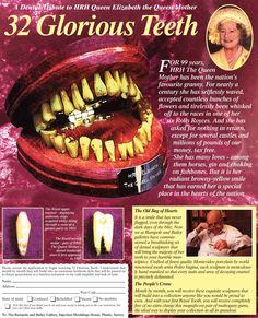 The Queen Mother: 32 Glorious Teeth - Viz Elizabeth Berkley, Funny Insults, Queen Mother, Haha Funny, Funny Stuff, Funny Memes, Funny Comics, Dumb And Dumber, Food Videos