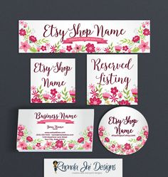 Shop Banner Set - Etsy Shop Covers Etsy Covers Branding Package Floral Etsy Cover Advance Startup Etsy Cover Bundle Floral 3 by RhondaJai on Etsy