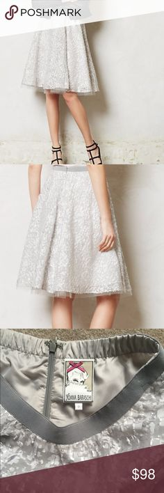 Yoana Baraschi Silver Skirt Tulle lined silver skirt from Anthropologie. Perfect condition! Anthropologie Skirts A-Line or Full