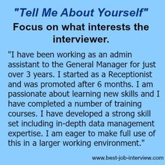 Tell me about yourself - what to focus on Job Interview Tips, Job Interviews, Interview Questions And Answers, Job Interview Preparation, Resume Ideas, Resume Tips, Job Resume, Career Search, Job Search Tips