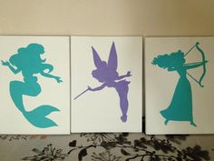 Disney Princess Canvas Silhouette by CreativeSilhouettes on Etsy