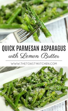 Quick Parmesan Asparagus with Lemon Butter - The Toasty Kitchen Healthy Side Dishes, Vegetable Sides, Side Dishes Easy, Vegetable Side Dishes, Side Dish Recipes, Vegetable Recipes, Vegetarian Recipes, Healthy Recipes, Healthy Lunches