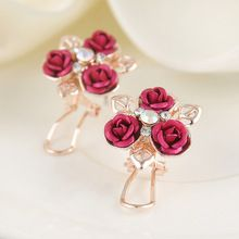 Lovely Rhinestone Gold Leaves Red Rose Crystal Stud Earrings for Women Statement Jewelry Accessory For Girls Free shipping(China (Mainland))