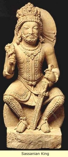 AD 240 Sassanian sculpture. King Peroz I identified by the vertical crescent on his crown. Art of Sassanians (The Art of Ancient Iran of Pre-Islamic era)