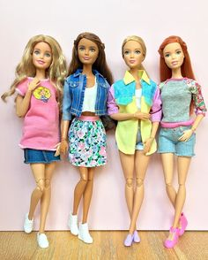 Spring vibes Doll L-R: Barbie Glam Vacation on M2M body, Petite Fashionista on Swappin' Styles body, Tall Fashionista on M2M body and Fashionista on Barbie Style body. #barbie #barbiedoll #barbiestyle #barbiemadetomove #madetomovebarbie #barbiefashionista #petitebarbie #tallbarbie #barbieclothes #thedollevolves #dollphotogallery #dollclothes #springstyle