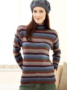 Striped Turtleneck Sweater | Yarn | Free Knitting Patterns | Crochet Patterns | Yarnspirations