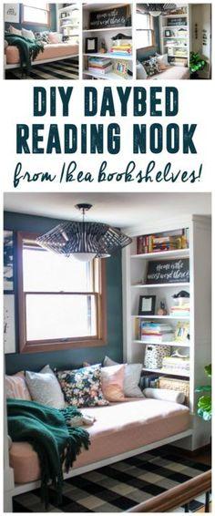 Reading Nook with Built in Bookshelves using Ikea Hemnes Bookcase www.BrightGreenDoor.com