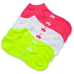Under Armour Pink Assorted Athletic Solo Socks - 3 Pack - Women's Pink Socks, Sport Socks, Hosiery, Under Armour, Cute Outfits, Athletic, Shoe Bag, Polyvore, Shopping