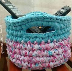 Cesto multiuso fofucho  #disponivel #basket #fiodemalha #trapillo #crochet