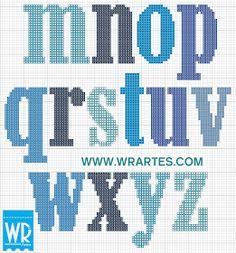 Masculine alphabet m-z Cross Stitch Letter Patterns, Cross Stitch Letters, Stitch Patterns, Cross Stitching, Cross Stitch Embroidery, Abc Letra, Cross Stitch Quotes, Sorority Letters, Alphabet Charts