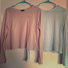 Two Striped Long Sleeve Shirts Blue and cream/tan long sleeves. Loose fitting. Material is see-through which is the main reason why I'm selling. It's hard to layer something under a long sleeve shirt. Signs of wear by the small fuzzies (as seen in picture) which is reflected in price! Mossimo Supply Co. Tops Tees - Long Sleeve