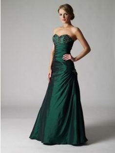A-line Beading Sleeveless Floor-length Sweetheart Taffeta Evening Dresses