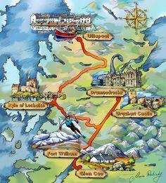 Scottish Highlands map Illustration by Maria Rabinky, via Behance
