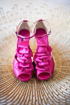 Gorgeous pink wedding heels | Photo by Vasia Photography