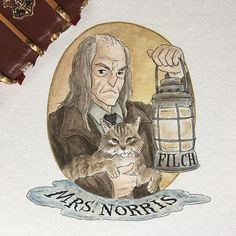 I'm going to try to do the #31daysofharrypotter and resume with my list of Potter Portraits -- here's Argus Filch and Mrs. Norris!